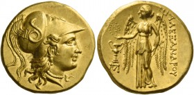 Alexander III, 336 – 323 and posthumous issues. Stater, Sinope circa 230-200, AV 8.50 g. Head of Athena r., wearing crested Corinthian helmet, bowl de...