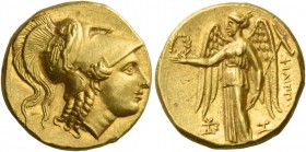 Philip III, 323 – 317 and posthumous issues. Stater, Aradus circa 323-316, AV 8.61 g. Head of Athena r., wearing crested Corinthian helmet, bowl decor...