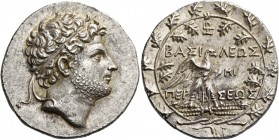 Perseus, 178 – 168. Tetradrachm, Pella or Amphipolis circa 174-173, AR 16.88 g. Diademed head r., slightly bearded. Rev. BAΣI – ΛEΩΣ – ΠEP – ΣEΩΣ Eagl...