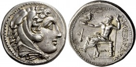 Kings of Paeonia, Audoleon, 315/0 – 286. Tetradrachm in name of Alexander III, Astibos or Damaestion circa 315/0-286, AR 17.21 g. Head of Heracles r.,...
