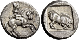 Uncertain mint in Macedonia. Drachm circa 470-450, AR 4.15 g. Horseman riding r. Rev. Boar standing r. within incuse square.