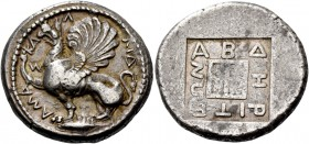 Thrace, Abdera. Tetradrachm, magistrate Kallidamas circa 450-425, AR 15.00 g. KA – Λ – ΛIΔ – AMA – Σ Griffin seated l., with rounded wings, r. foreleg...