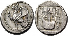 Thrace, Abdera. Stater, magistrate Herokleitos circa 378, AR 16.89 g. Griffin seated l., with rounded wings, r. foreleg raised. Rev. E – Π – I – HPO –...