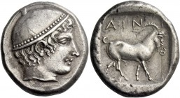 Aenus. Tetradrachm circa 410, AR 16.31 g. Head of Hermes r., wearing brimless petasus. Rev. AIN – I Goat r.; in r. field, caduceus. All within partial...