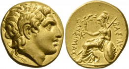 Kingdom of Thrace, Lysimachus, 323 – 281 and posthumous issues. Stater, uncertain mint circa 323-281, AV 8.50 g. Diademed head of deified Alexander r....