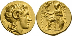 Kingdom of Thrace, Lysimachus, 323 – 281 and posthumous issues. Stater, Ephesus circa 294-287, AV 8.56 g. Diademed head of deified Alexander r., with ...