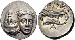 Moesia, Istrus. Drachm 4th-3rd century BC, AR 5.29 g. Two young male heads facing and united, one inverted. Rev. IΣTPIH Sea-eagle l., perching on dolp...