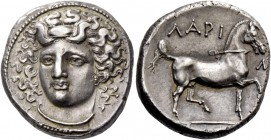 Thessaly, Larissa. Didrachm 350-300, AR 12.19 g. Head of nymph Larissa facing three-quarters l., wearing ampyx, earring and necklace. Rev. ΛAPI – Σ / ...