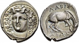 Thessaly, Larissa. Drachm 350-300, AR 6.13 g. Head of nymph Larissa facing three-quarters l., wearing ampyx, earring and necklace. Rev. ΛAPIΣ / AIΩN H...