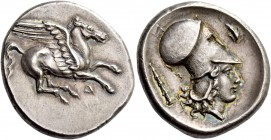 Illyria, Dyrrachium. Stater circa 350, AR 8.65 g. Pegasus flying r.; below, Δ. Rev. Head of Athena r., wearing Corinthian helmet; in l. field, club an...