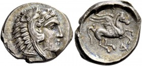 Illyria, Dyrrachium. Drachm circa 250-229, AR 2.31 g. Head of Heracles r., wearing lion skin headdress. Rev. ΔYP Pegasus flying r. SNG Copenhagen 433....