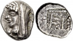 Arcadia, Heraia. Hemidrachm circa 500-495, AR 2.99 g. Veiled head of Hera to l., wearing stephane and beaded necklace. Rev. ΕΡ all within a shallow in...