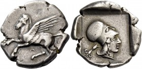 Epirus, Ambracia. Stater circa 426-404, AR 8.40 g. Pegasus flying l.; below, A. Rev. Head of Athena r., wearing Corinthian helmet; in l. field, winged...