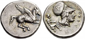 Epirus, Ambracia. Stater circa 380-360, AR 8.51 g. Pegasus flying r. Rev. Head of Athena r., wearing Corinthian helmet decorated with A; in r. field, ...