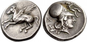 Epirus, Ambracia. Stater circa 380-360, AR 8.48 g. Pegasus flying l.; on hindquarter, A. Rev. Head of Athena r., wearing Corinthian helmet; in l. fiel...