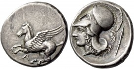 Epirus, Ambracia. Stater circa 360-338, AR 8.58 g. Pegasus flying l.; below, A. Rev. Head of Athena l., wearing crested Corinthian helmet; behind, spe...