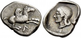 Leucas. Drachm circa 475-460, AR 2.64 g. Pegasus flying r.; below, Λ. Rev. Head of Aphrodite l., wearing a thin diadem and pearl necklace. Traité pl. ...
