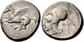 Leucas. Stater circa 400-350, AR 8.43 g. Pegasus flying l.; below, Λ. Rev. Head of Athena l., wearing Corinthian helmet; behind, caduceus and Λ. BMC 6...