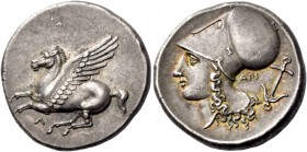 Leucas. Stater circa 330, AR 8.62 g. Pegasus flying l.; below, Λ. Rev. Head of Athena l., wearing Corinthian helmet; behind, API and anchor. BMC 103. ...