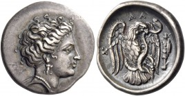 Eubea, Chalcis. Drachm circa 290-271, AR 3.73 g. Head of nymph Chalcis r. wearing earring and necklace. Rev. X – AΛ Eagle standing r. with open wings ...