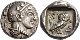 Attica, Athens. Drachm circa 470-460, AR 4.28 g. Head of Athena r., wearing crested Athenian helmet and disc earring; bowl ornamented with spiral and ...