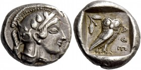 Attica, Athens. Drachm circa 465-460, AR 4.26 g. Head of Athena r., wearing crested Athenian helmet and disc earring; bowl ornamented with spiral and ...