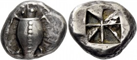 Aegina, Aegina. Stater, circa 550-500, AR 12.14 g. Sea-turtle seen from above, with thin collar and dots running down its back. Rev. Incuse square div...