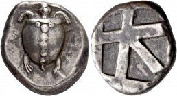 Aegina, Aegina. Stater circa 480-457, AR 12.31 g. Sea turtle seen from above. Rev. Incuse square with skew pattern. Milbank pl. 1, 15. SNG Copenhagen ...
