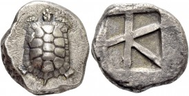 Aegina, Aegina. Stater circa 380, AR 11.73 g. Tortoise seen from above. Rev. Skew pattern within incuse square. Millbank pl. 2, 14. SNG Lockett 1995 ....