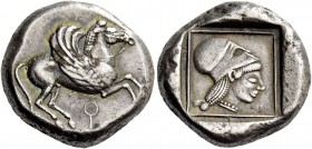Corinthia, Corinth. Stater circa 515-480, AR 8.64 g. Pegasus flying r.; below []. Rev. Head of Athena r., wearing Corinthian helmet; around, linear fr...