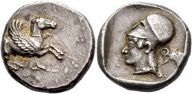 Corinthia, Corinth. Stater circa 470, AR 8.62 g. Pegasus flying r.; below, [koppa]. Rev. Head of Athena l., wearing Corinthian helmet; in r. field, [k...