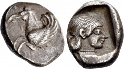 Corinthia, Corinth. Hemidrachm circa 470, AR 1.41 g. Forepart of Pegasus l. Rev. Head of Aphrodite r., wearing thin diadem and pearl necklace. All wit...