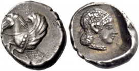 Corinthia, Corinth. Hemidrachm circa 470, AR 1.45 g. Forepart of Pegasus l. Rev. Head of Aphrodite r., wearing thin diadem and pearl necklace. All wit...