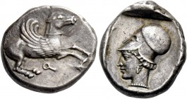 Corinthia, Corinth. Stater circa 460-450, AR 8.52 g. Pegasus flying r.; below, []. Rev. Head of Athena l., wearing Corinthian helmet. All within parti...