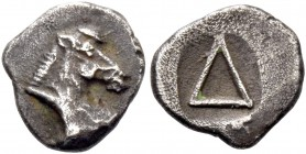 Corinthia, Corinth. Diobol circa 450, AR 0.69 g. Head of Pegasus r. Rev. Large Δ, all within partially incuse square. Rosen 228. BCD Korinth 35 .