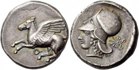 Corinthia, Corinth. Stater circa 450-400, AR 8.58 g. Pegasus flying l.; below, [koppa]. Rev. Head of Athena l., wearing Corinthian helmet; in r. field...