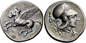 Corinthia, Corinth. Stater circa 400-380, AR 8.47 g. Pegasus flying l.; below, [koppa]. Rev. Head of Athena r., wearing Corinthian helmet; in l. field...