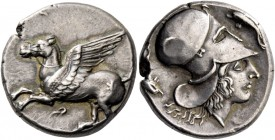 Corinthia, Corinth. Stater circa 380-360, AR 8.48 g. Pegasus flying l.; below, [koppa]. Rev. Head of Athena r.; in field, two dolphins. Ravel 819. Cal...
