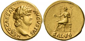 Nero augustus, 54 – 68. Aureus circa 65-66, AV 7.33 g. NERO CAESAR – AVGVSTVS Laureate head r. Rev. Salus seated l. on throne, holding patera in r. ha...
