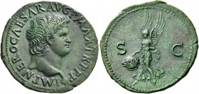 Nero augustus, 54 – 68. As, Lugdunum circa 66, Æ 10.36 g. IMP NERO CAESAR AVG P MAX TR P P P Bare head r. with globe at point of bust. Rev. S – C Vict...