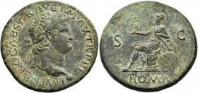 Nero augustus, 54 – 68. Sestertius, Lugdunum circa 67, Æ 26.76 g. IMP NERO CAESAR AVG P MAX TR P P P Laureate head r., with globe at point of neck. Re...