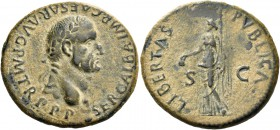 Galba, 68 – 69. As, Tarraco (?) September to December 68, Æ 11.06 g. SER GALBA IMP CAESAR P M TR P P P Laureate head r., with globe at point of the bu...