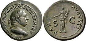 Vitellius, April –December 69. Sestertius late April-December 69, Æ 28.43 g. A VITELLIVS GERMANICVS IMP AVG P M TR P Laureate and draped bust r. Rev. ...