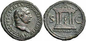 Vitellius, April –December 69. As circa late April-20 December 69, Æ 10.34 g. A VITELLIVS GERMANICVS IMP AVG P M TR P Laureate head r. Rev. I O MAX CA...