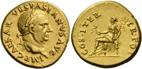 Vespasian, 69 – 79. Aureus, Tarraco 70, AV 7.36 g. IMP CAESAR VESPASIANVS AVG Laureate head r. Rev. COS ITER – TR POT Pax seated l., holding branch an...