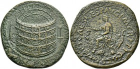 Titus augustus, 79 – 81. Sestertius 80-81, Æ 26.15 g. Aerial view of the Flavian amphitheatre (the Colosseum); on l., Meta Sudans and on r., porticoed...