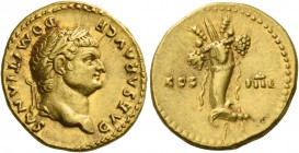 Domitian caesar, 69 – 81. Aureus early 76-early 77, AV 7.30 g. CAESAR AVG F DOMITIANVS Laureate head r. Rev. COS – IIII Cornucopiae tied up with ribbo...