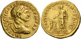Trajan, 98 – 117. Aureus 111, AV 7.26 g. IMP TRAIANO AVG GER DAC PM TR P Laureate, draped and cuirassed bust r. Rev. COS V P P SPQR OPTIMO PRINC Traja...