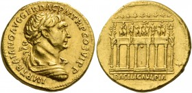 Trajan, 98 – 117. Aureus 112-114, AV 7.22 g. IMP TRAIANO AVG GER DAC P M TR P COS VI P P Laureate, draped and cuirassed bust r. Rev. Façade of Trajan'...
