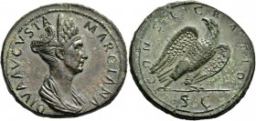 Marciana, sister of Trajan. Sestertius 113-117, Æ 28.96 g. DIVA AVGVSTA – MARCIANA Diademed and draped bust r. Rev. CONSECRATIO Eagle, with spread win...